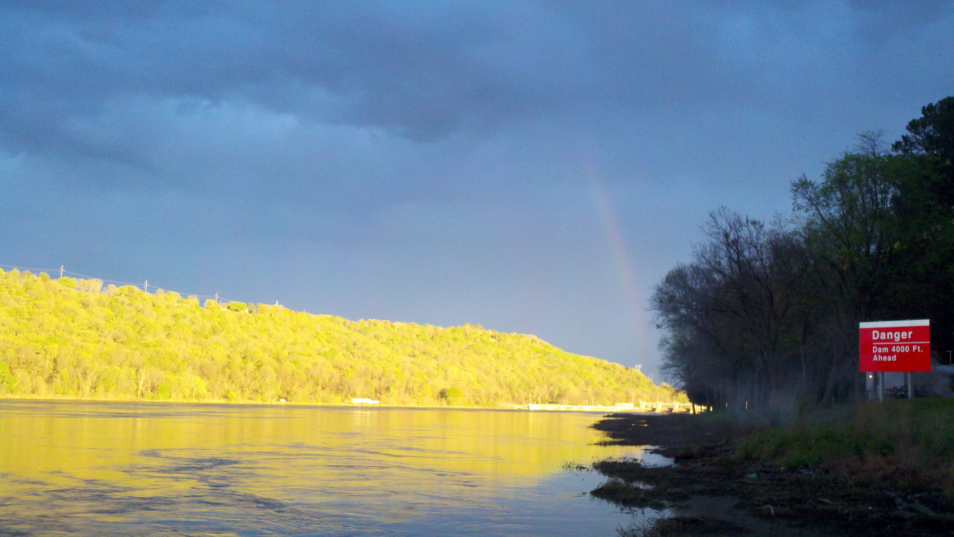 Rainbow peaking out for a minute at the Ozark dam