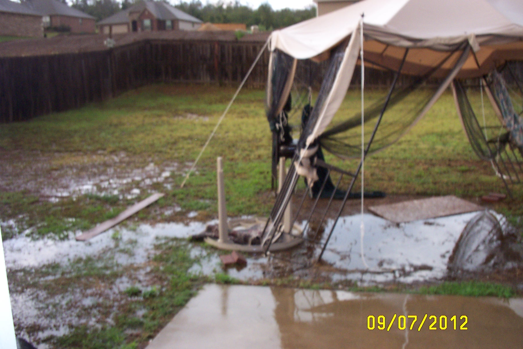greenwood storm damage.. our back yard canopy