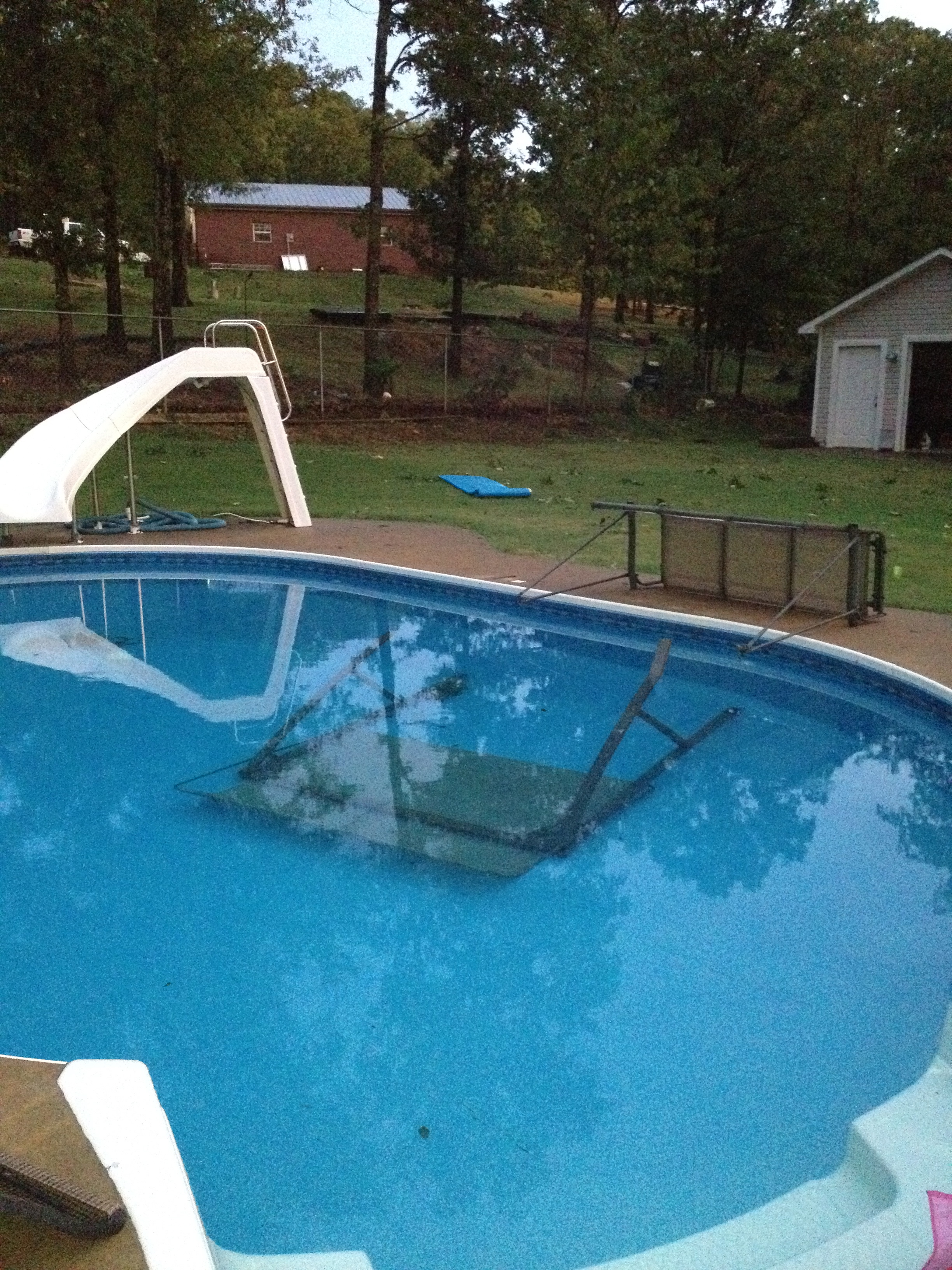 Not exactly the best use of a poolside swing!