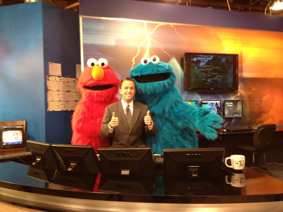 Jason Adams had a lot of competition today giving the weather! That Cookie Monster sure was a natural.