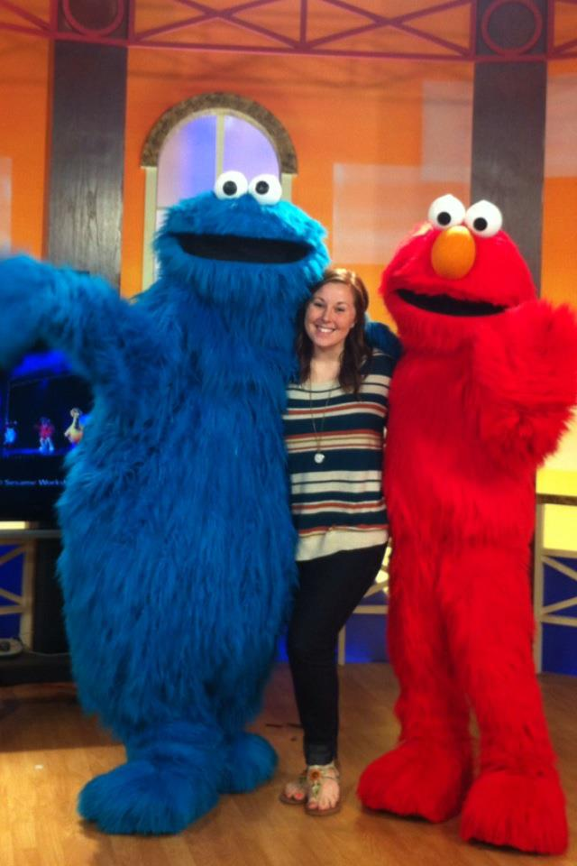 Elmo, Cookie Monster and our producer, Leah.