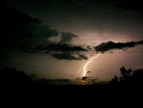 Lightning from storms south of Hartman on 9/7/12.
