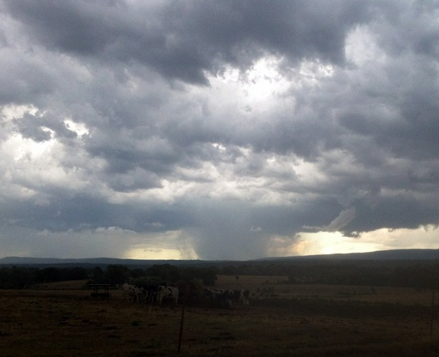 Rain in Logan County over Mt. Magazine