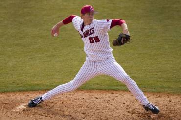 Arkansas sophomore Ryne Stanek went seven innings, striking out 10 and picking up a no-decision in the Razorbacks' 2-1 loss to LSU on Saturday.