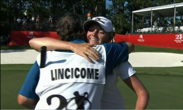 Stacey Lewis celebrates after winning the Mobile Bay Classic on the LPGA Tour.
