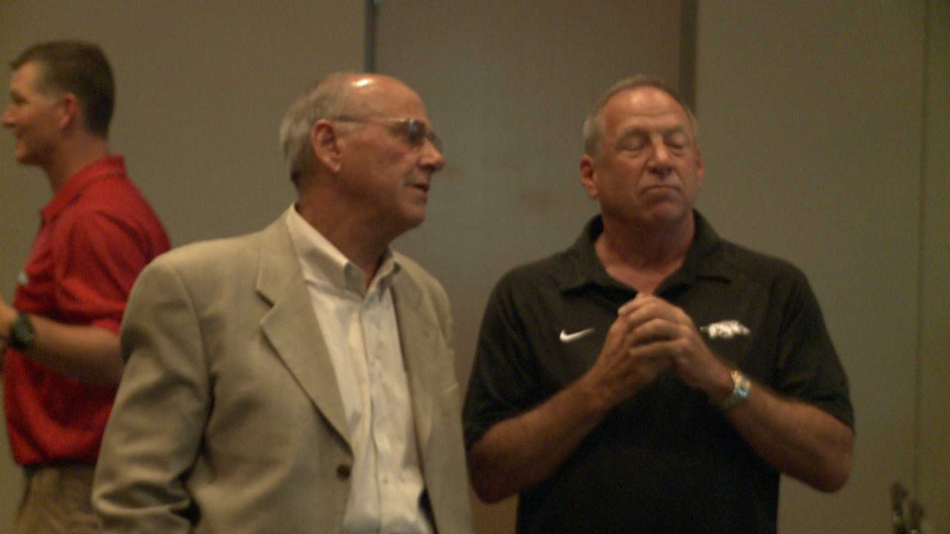 John L. Smith and Tom Collen spoke at the Northwest Arkansas Razorback Club 2012 Banquet Wednesday night.