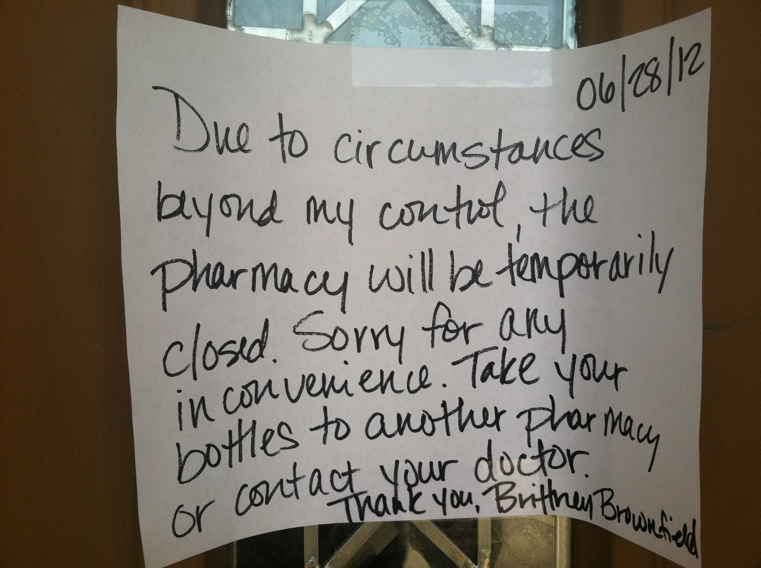 Note left at Brownfield Pharmacy for customers