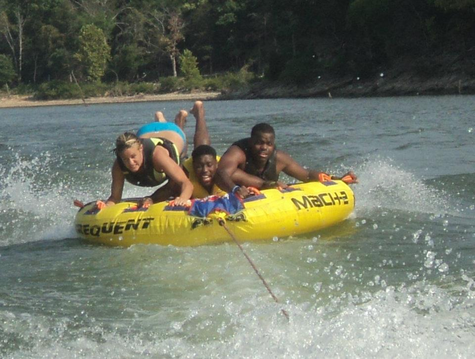 Denzel Massey and Cameron Adams and Friends out on the water enjoying the fourth..