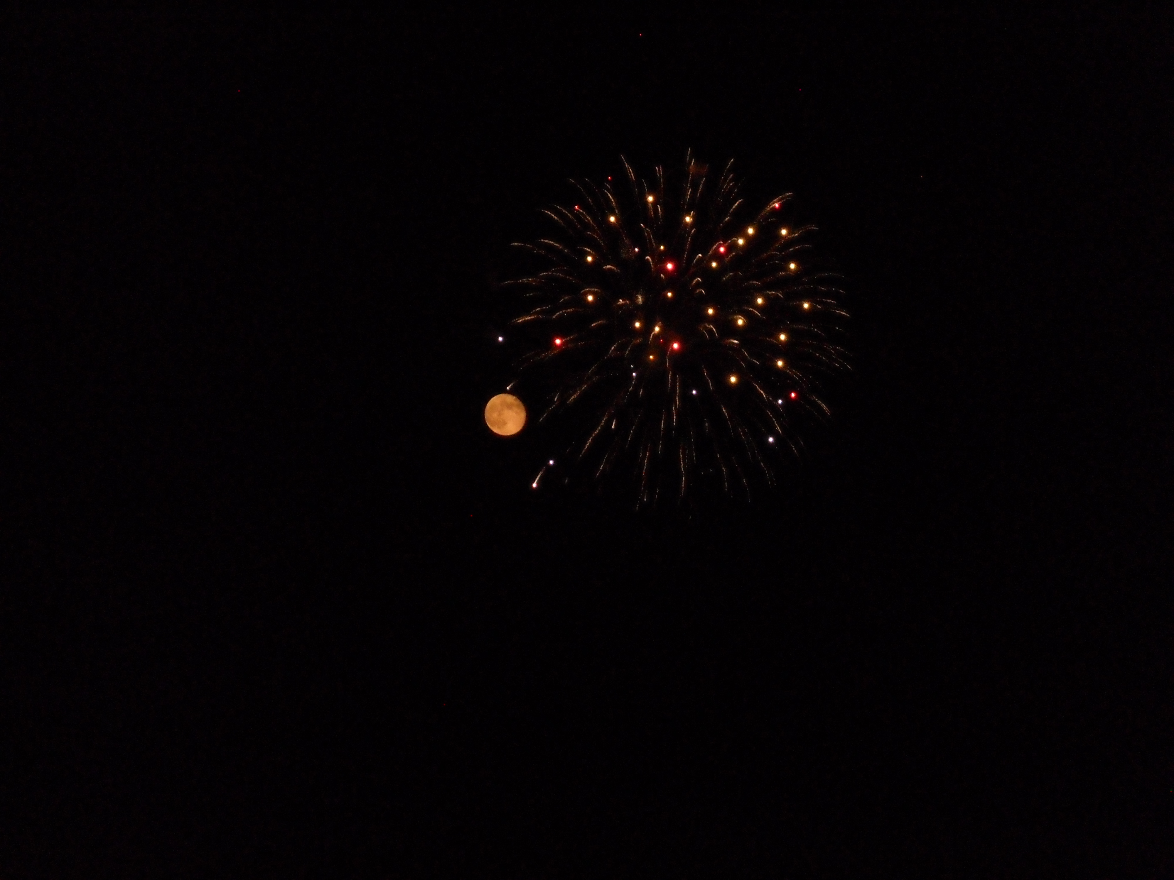 moon and fireworks