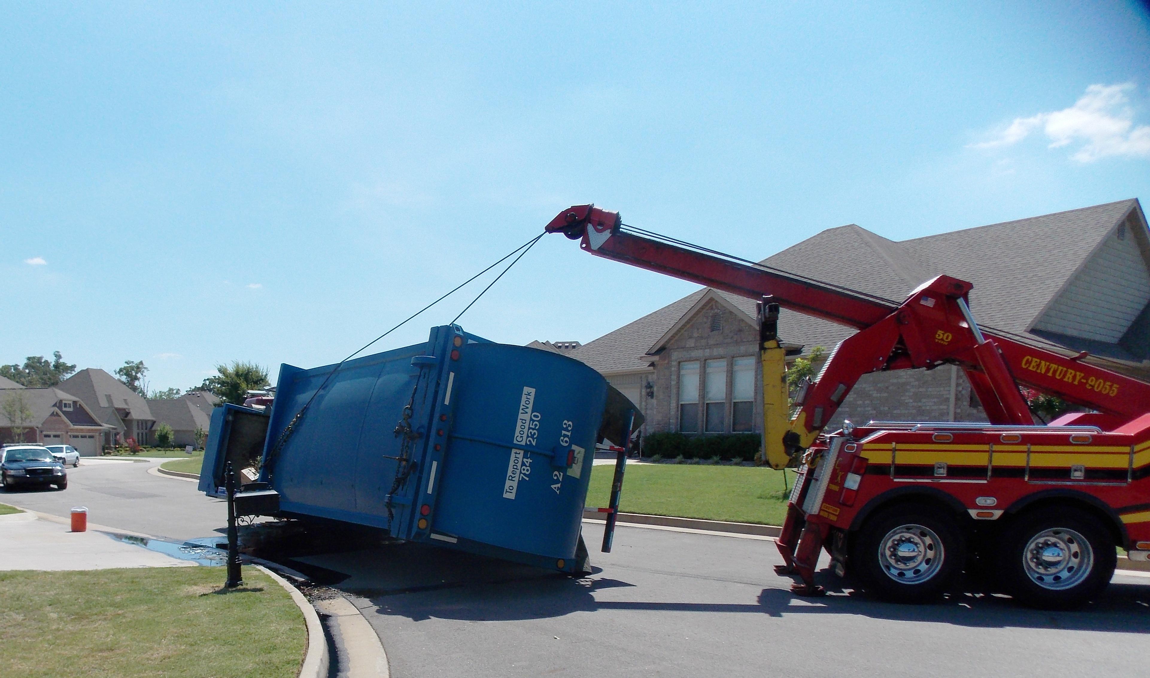 Trash Truck Overturns In Fort Smith Neighborhood Fort