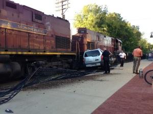September 2012 accident involving SUV and Arkansas and Missouri Railroad train.