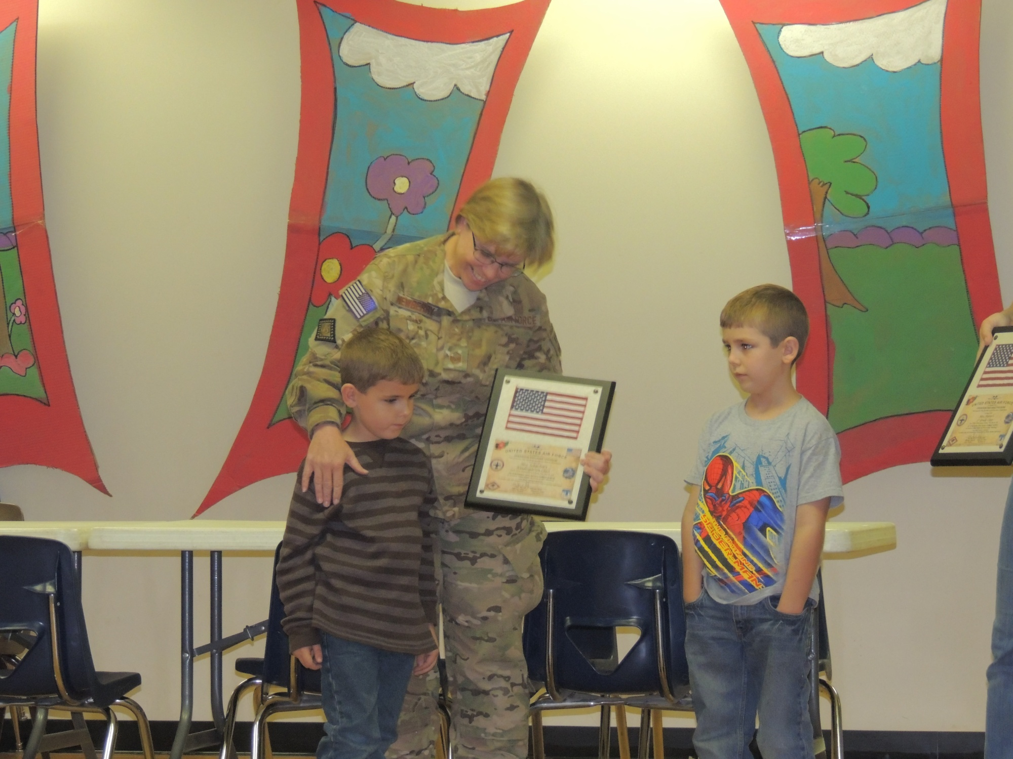 MSgt. Tammy Newberry surprised her two grandsons Xander and Connor at Parkview Elementary in Van Buren