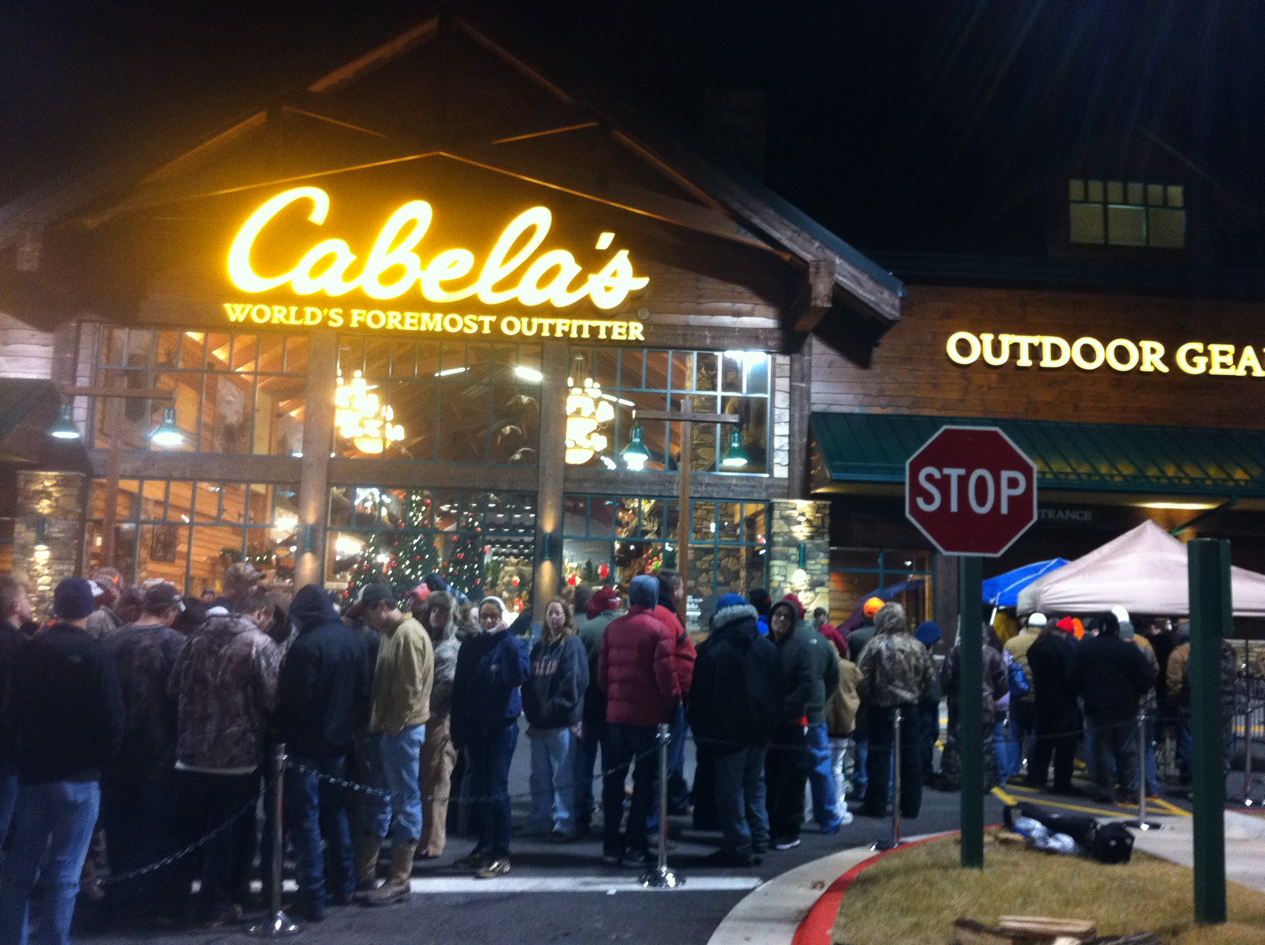 Shoppers line-up at Cabela's in Rogers awaiting special deal offers.