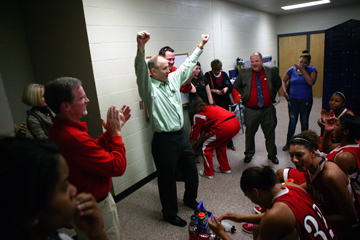 Smith celebrates Northside's 69-66 win against North Little Rock in the 2010-11 semifinals. Courtesty Fort Smith Public Schools