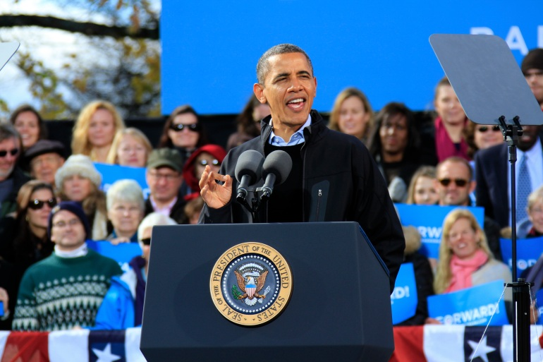Pres. Barack Obama rallies in Concord NH.