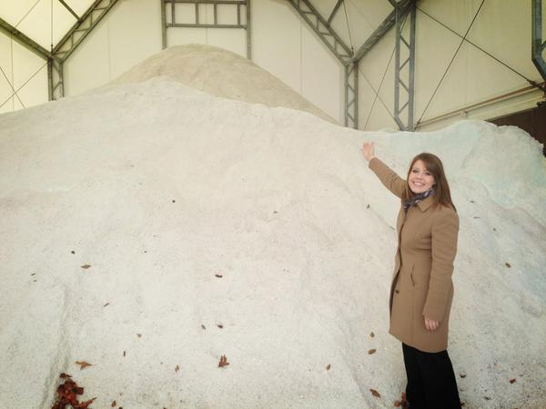 5NEWS Meredith Baldwin and the salt supply at the AR Highway Dept. HQ in Fort Smith