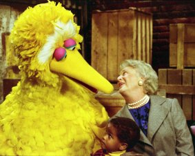 "Mrs. Bush participates in a taping of the television show ""Sesame Street"""