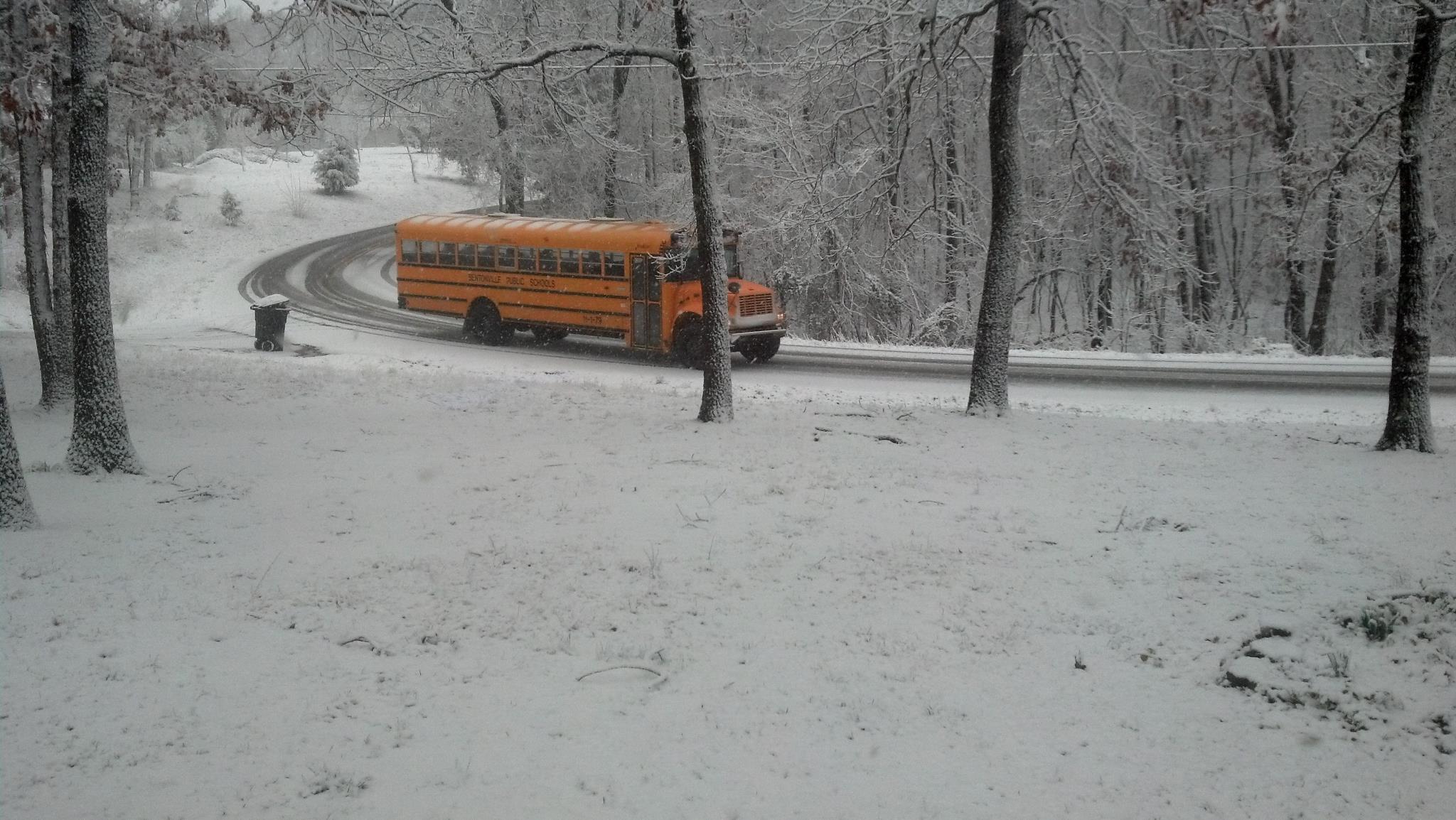 bus, snow