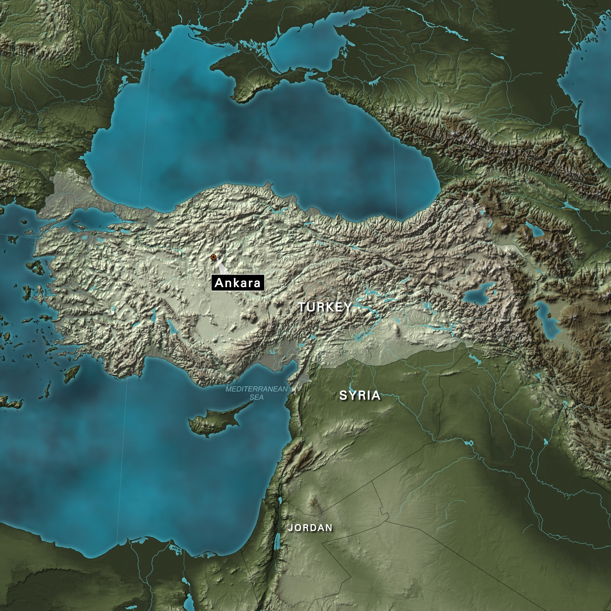 Turkey locator map Ankara