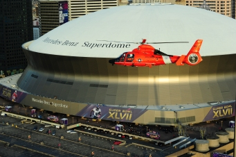 Coast Guard helicopter conducts Super Bowl XLVII overflight