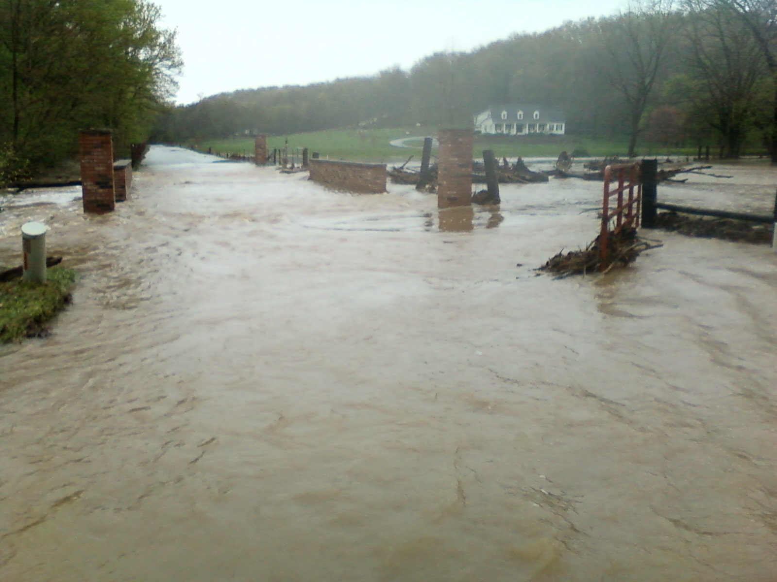 Water from McKissic Creek filled the field and ran over the bridge leading up to the Bluffs subdivision.