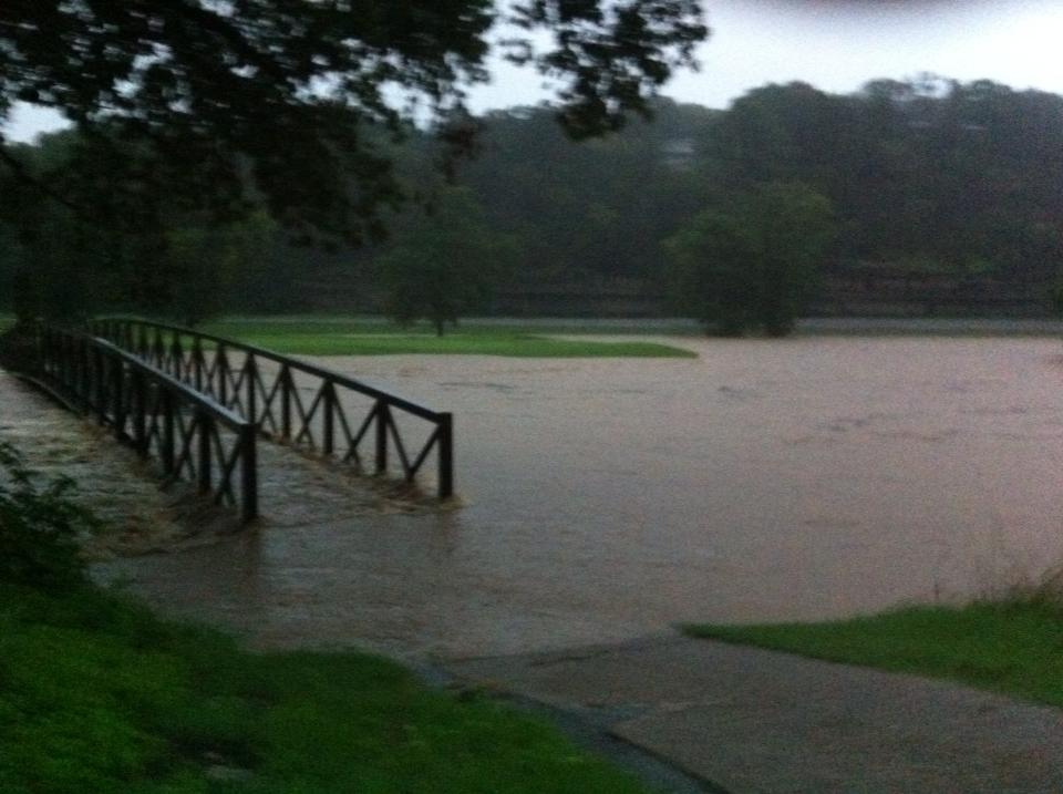 Little Sugar creek in Bella Vista. This bridge is usually about 10 ft above the water. Craig Richardson Bella Vista