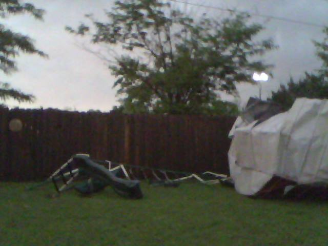 the swing and the shed that was destroyed