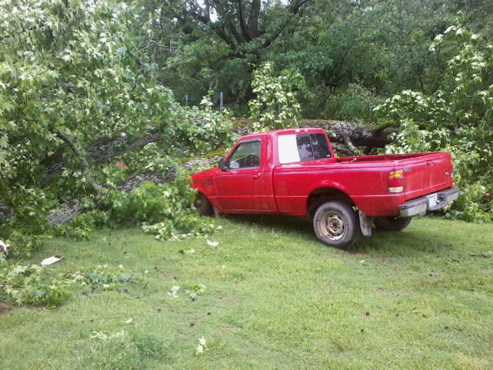 Sweet Gum fell on truck in the yard. Dustin Appleton New Blaine, Ar 8 am 5/21/2013