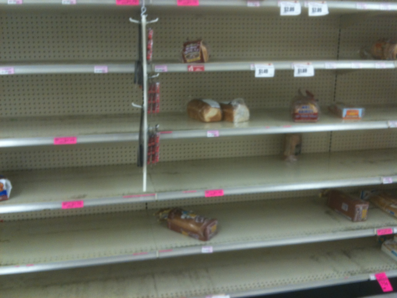 The bread aisle after severe ice warnings.