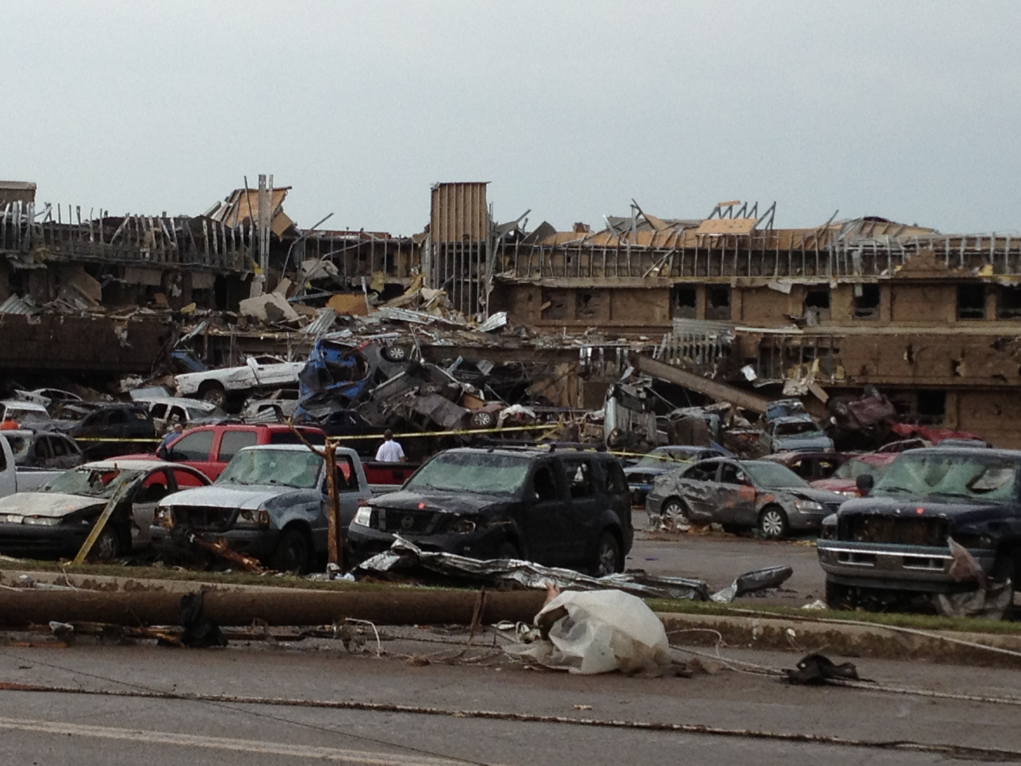 CNN iReporter Tyler Menge captured an image of horrific damage near Moore Medical Center.The storm system has ripped through the U.S. heartland for the past two days - killing dozens and injuring over a hundred.