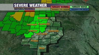 ... the Tornado Watch into parts of NW Arkansas until 6 AM Monday