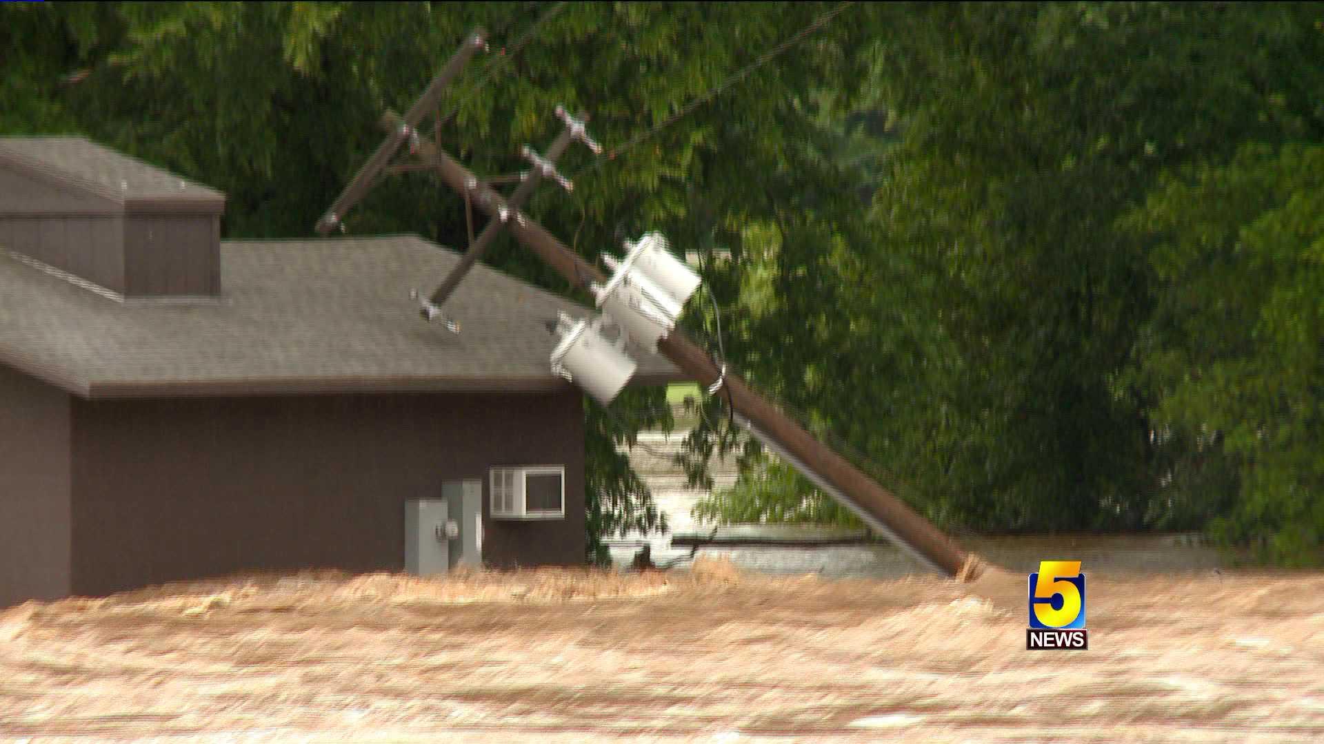 benton county flooding power pole