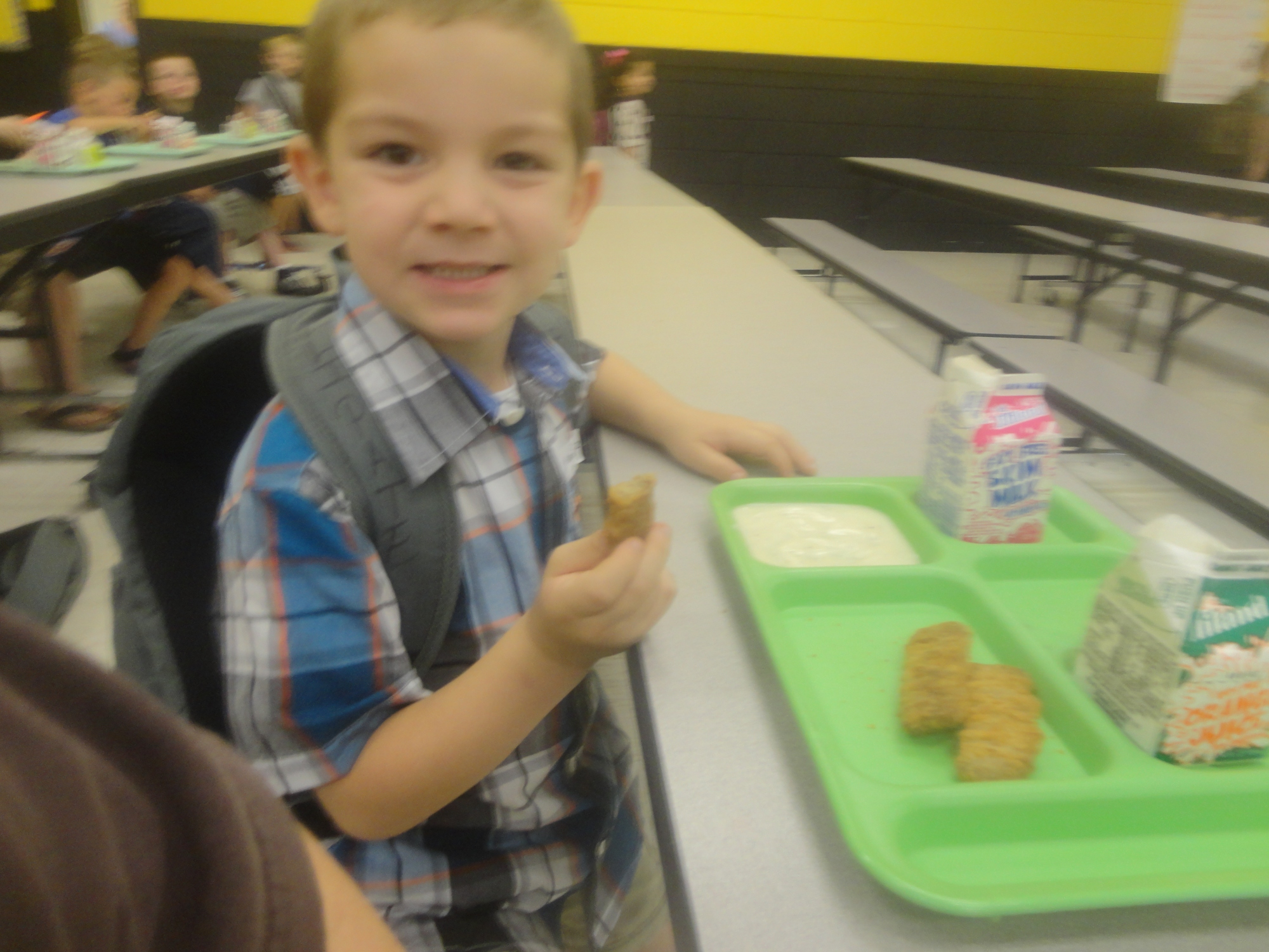 Eating Breakfast At His First Day Of Kindergarten