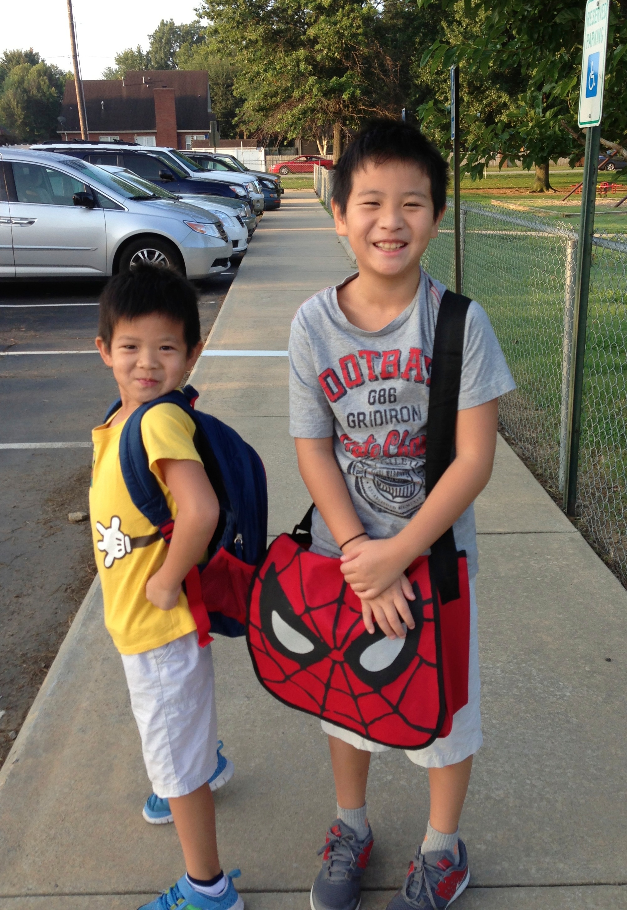 Hugo's first day of K with his big brother.