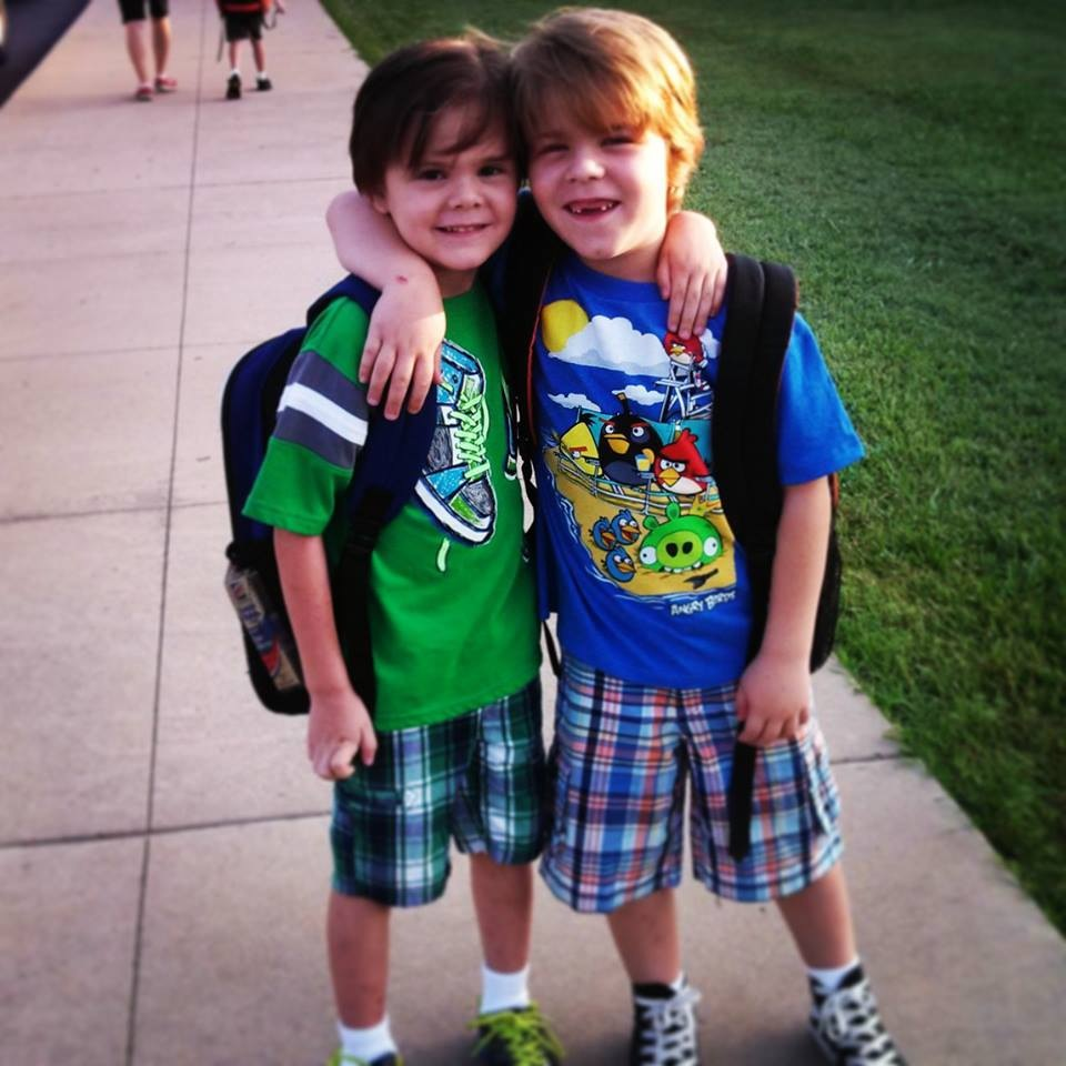 First day of Kindergarten and First Grade.
