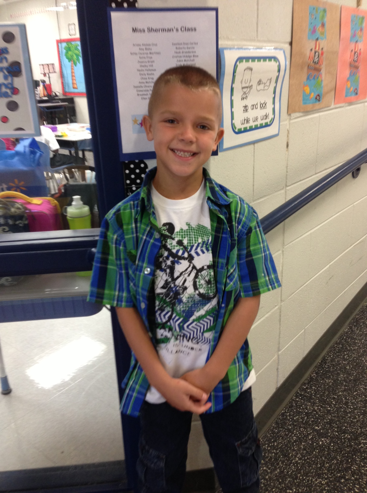 My handsome young man starting 2nd grade.
