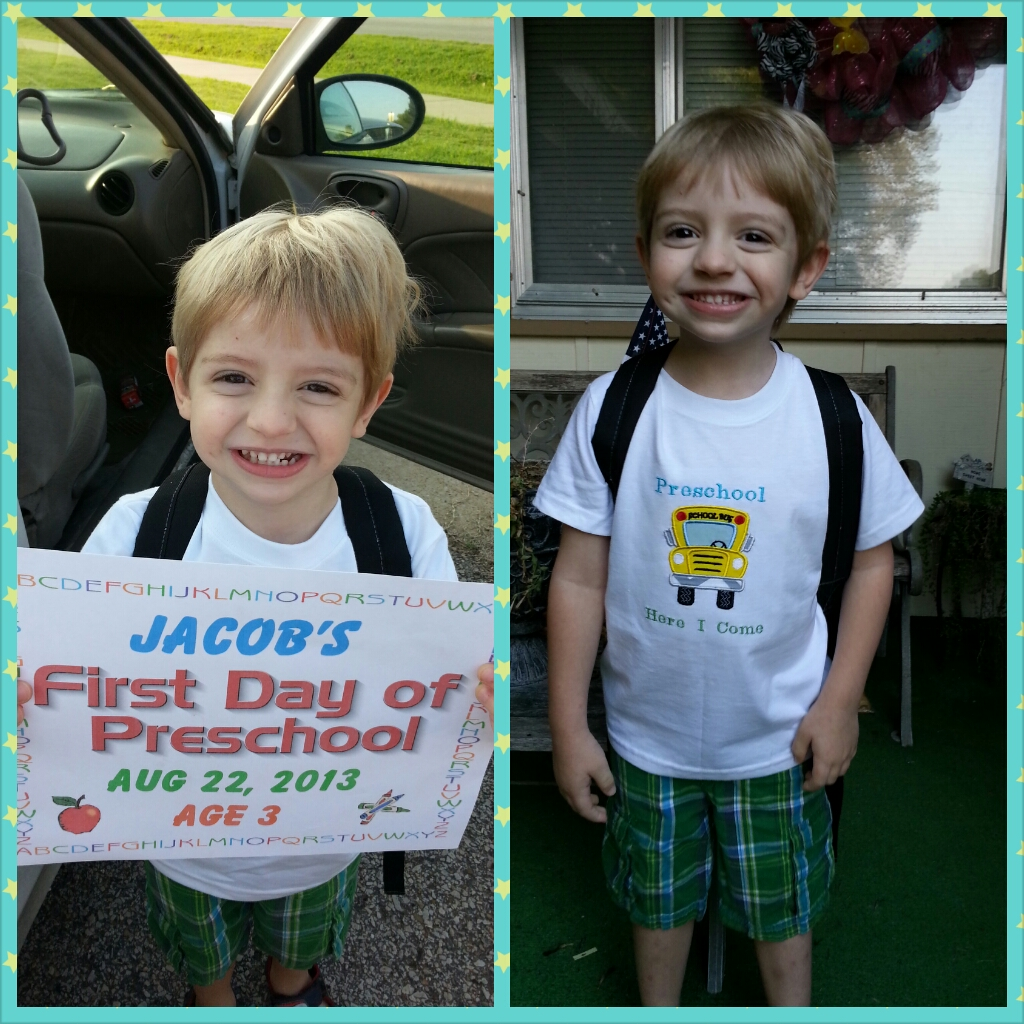 my name is Jacob Raible and this is me on the first day of preschool at barling elementary. I am super excited about going to school for the first time & I love my shirt my mommy made.