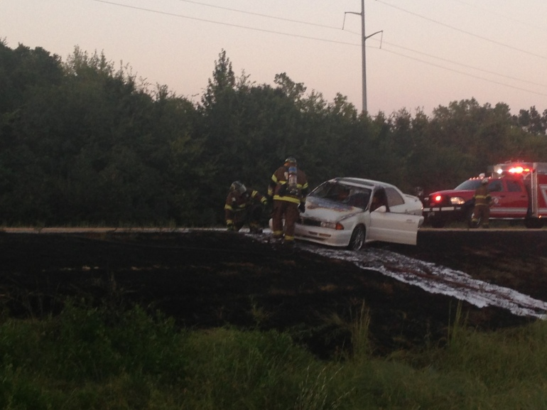 Car catches fire on I-540 Near Alma Monday night.