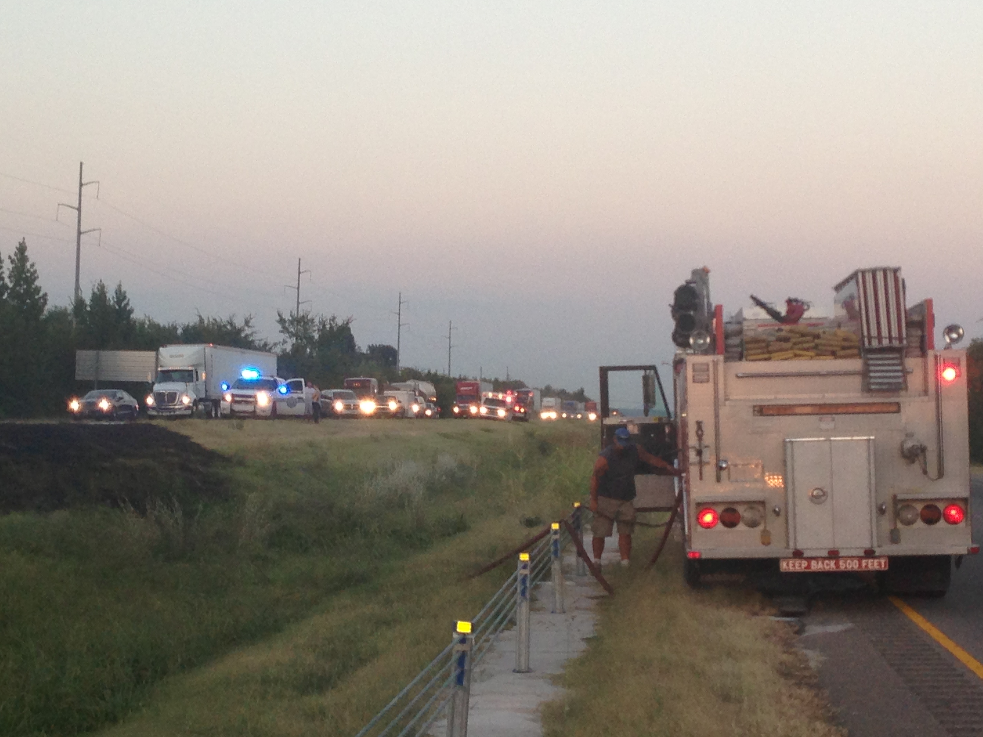 Traffic backed up after car catches fire on I-540 Monday night.