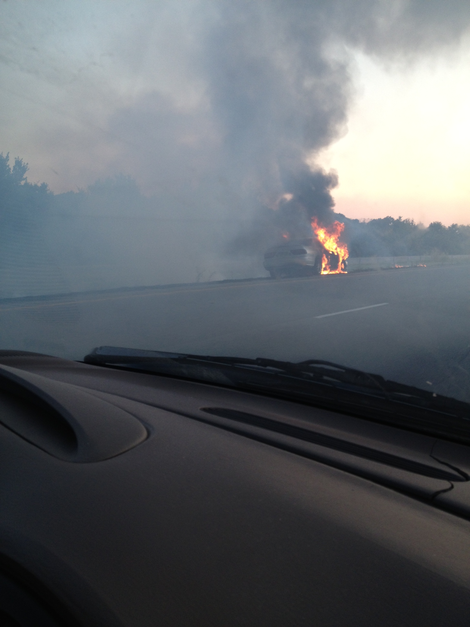 Viewer ipix from I-540 after car catches fire on Monday night.