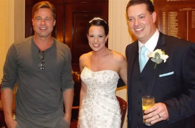 Newlyweds Abi and Daniel Lingwood with Brad Pitt