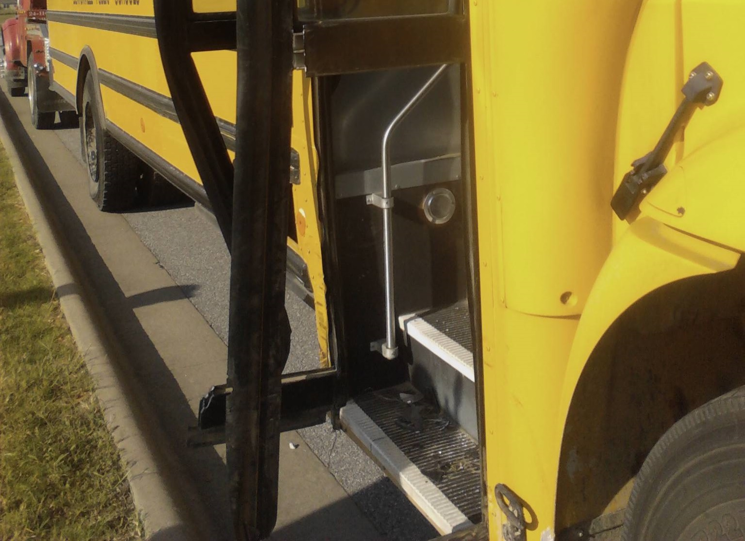 school bus shattered glass