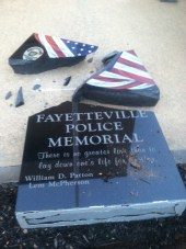 Fayetteville Fallen Officer Memorial broken