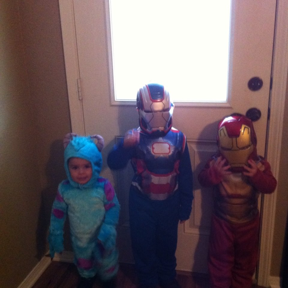 Matthew age 1 as Sully, Mykel age 5 as Iron Patriot & Jayedon age 2 as Iron Man