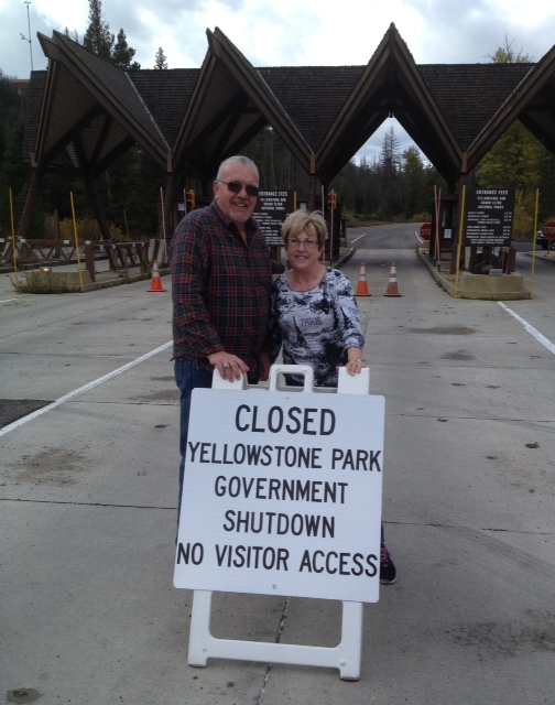 Ellis and Tricia Westbrooks of Alma, Ark., are among travelers having to change their plans due to the government shutdown.