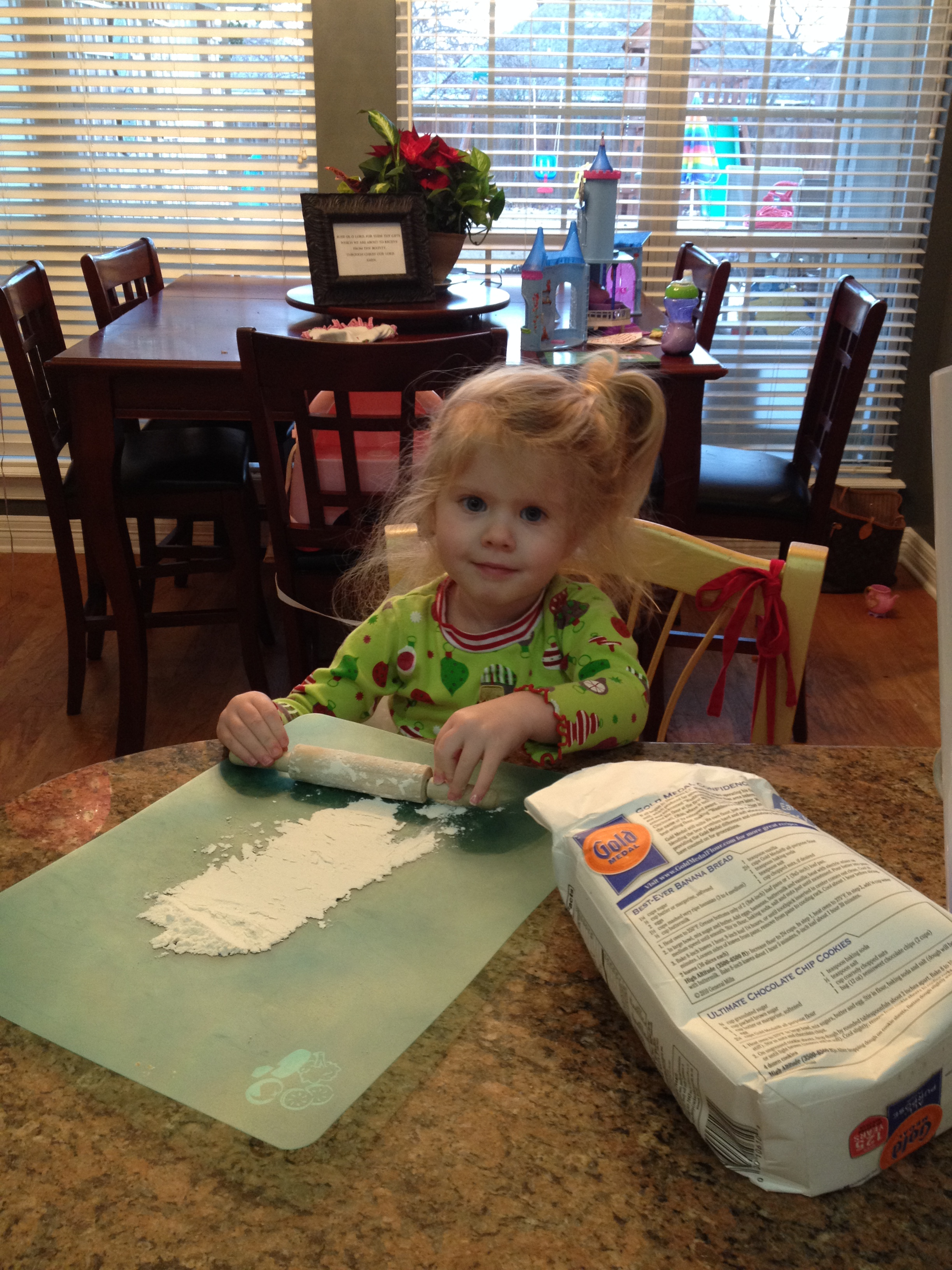 Caroline, 3 years old. Baking with Mom!