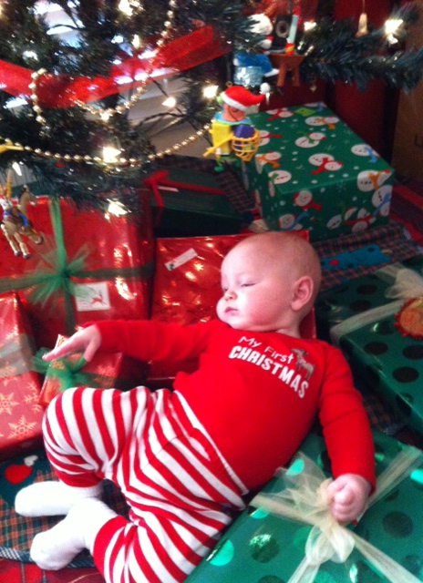 Cy Linden Allen Worn Out From Momma's First Christmas Photo Shoot