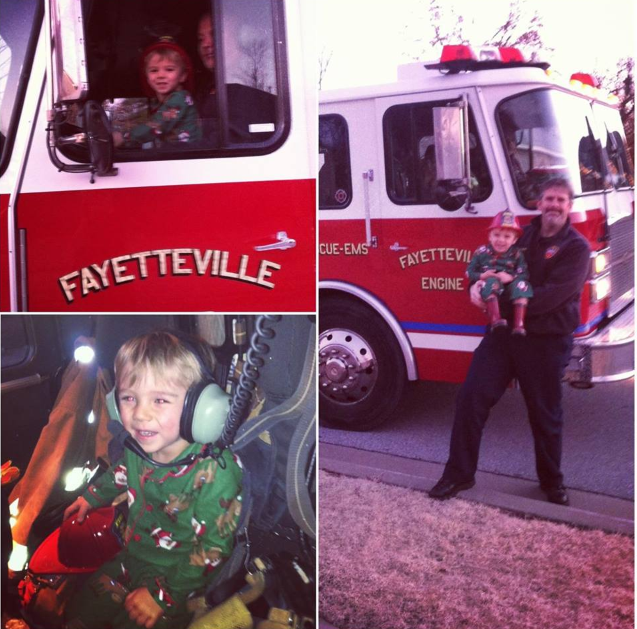 Little Owen asked Santa for a BIG Firetruck - Sent in by Jennifer Tschepikow, Fayetteville