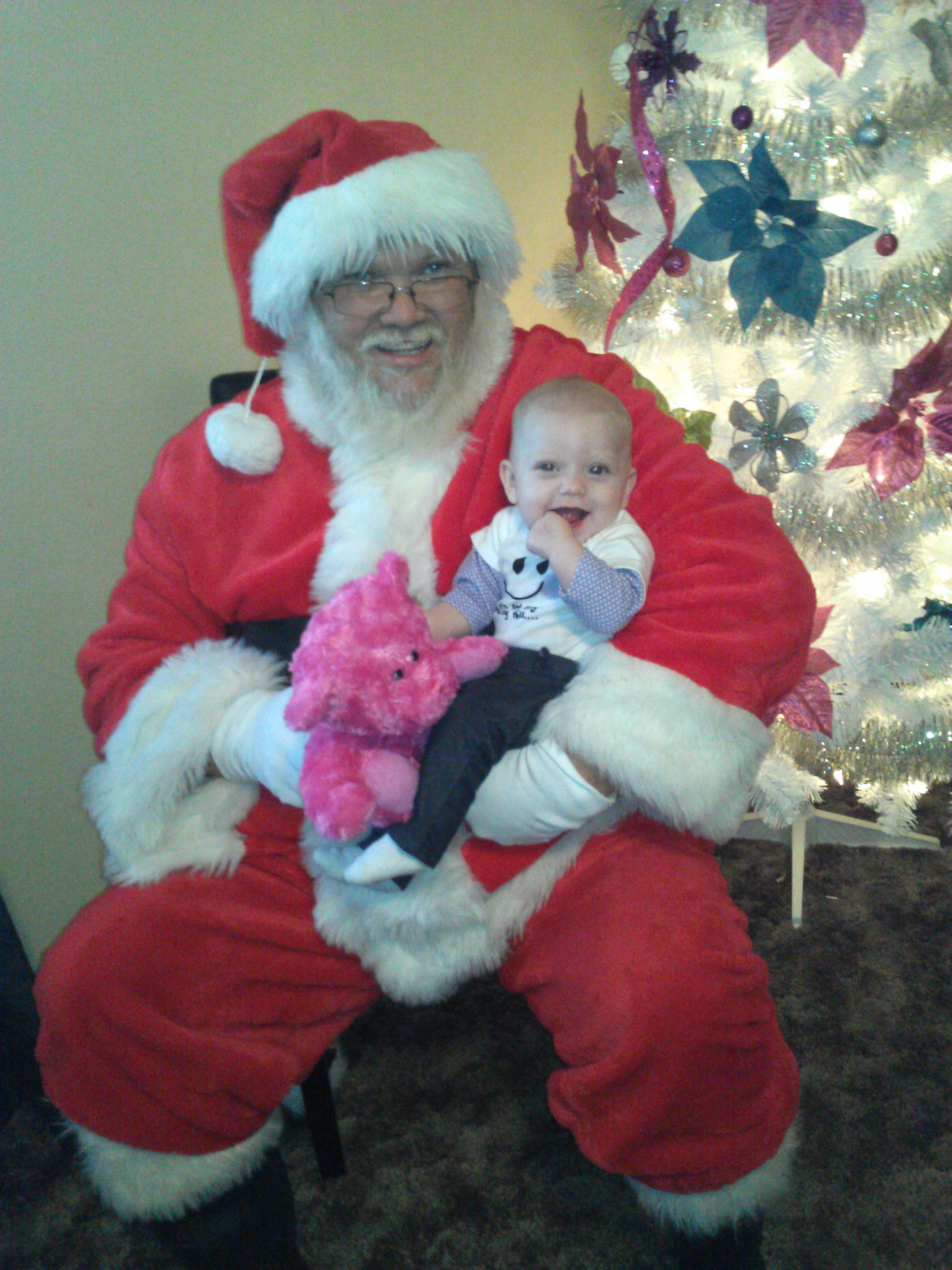 Little Macie and Santa, sent in by Jessica Yeakley