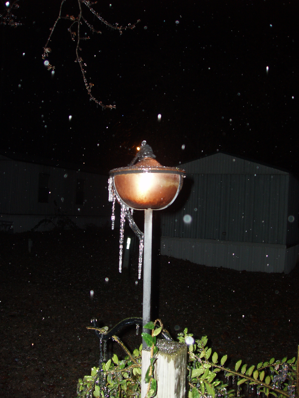 Ice on a tiki torch in Van Buren